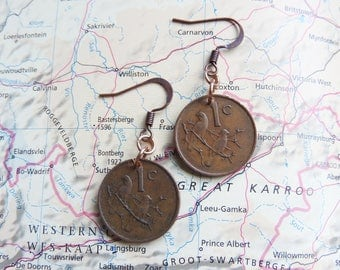South Africa coin earrings - 4 different designs - made of coins from South Africa - traveling - explore - wanderlust