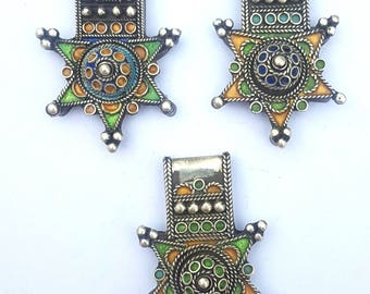 "Morocco - Lot of 3 crosses ""Boghdad"" in silver and enamel for necklace - southern Morocco"