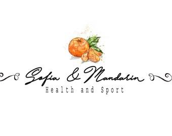 Premade logo / To customize / Mandarin / Watercolor style / Fruits, orange / Health, nutrition, sports, fresh