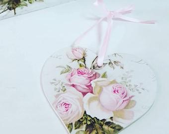 Shabby Chic Français Floral 12cm accroche coeur en bois