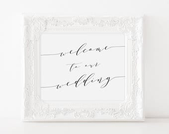 Printable Wedding Welcome Sign, Faux Gold Foil Wedding Welcome Sign, Welcome to Our Wedding Sign, Welcome Display, Welcome to Our Day