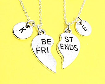 Gift For BFF,2 Best Friends set, Customized,Best friend Necklace,Pink Necklace,Pink Jewelry, Twin Necklaces, Bff Friendship Jewelry Gifts.