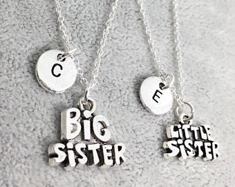 Sister Necklace Set of 2, Big Sister Little Sister Jewelry, Custom Sister Necklace, Personalized, Monogram, Sister Necklace Set, Kids Gift