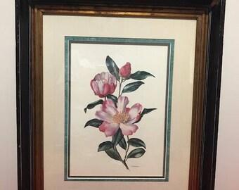 "Beautiful Big Wooden Framed Picture Vintage flower print by artist Anne Marie Trechslin It is a kind of Poppy Flower 20""X24"""