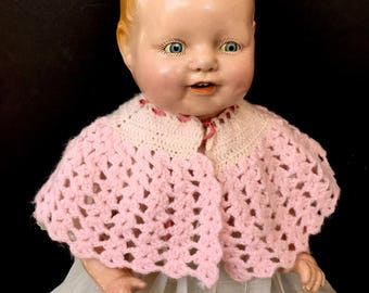Sweet Little Vintage Pink Knit Cape for Doll