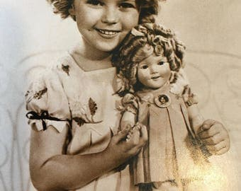 Darling Large Sepia Postcard-Shirley Temple With Her Shirley Temple Doll