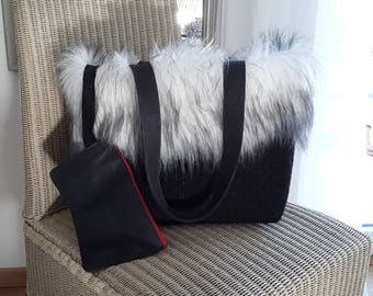 Felt bag black with fake pur fur silver white-shoppers-fine wool felt-L32cm B20cm H28cm-with handle height 48inch-2 inner Pockets