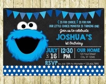 Cookie Monster Sesame Street Printed Chalkboard Invitation