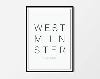 Westminster, London Borough | London Print | London Artwork | London Illustration | Architecture Print | City Print