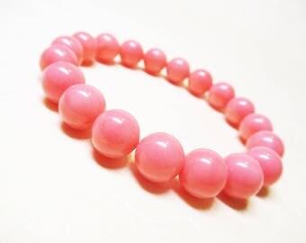 Pink Coral Bracelet Gemstone Bracelet Fertility Bracelet Healing Bracelet Heart Chakra Bracelet Healing Crystal 10mm Pink Coral Mothers Gift