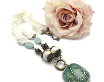 Pendant necklace handmade silk and ceramic