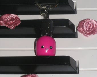 "Hot pink ""Nail polish"" glittery polymer clay key ring"