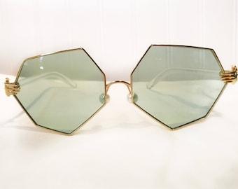 Mint Green Heptagon Hands Sunglasses