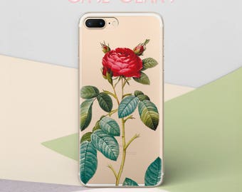 Rose Vintage Flower iPhone X Case for Samsung S6 Case Floral Galaxy S8 Case Clear Galaxy S7 Case Nature Floral Case Galaxy S7 Edge CG1541
