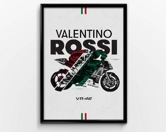 Valentino Rossi Moto GP Motorbike Sports Bike Minimilistic Print Poster