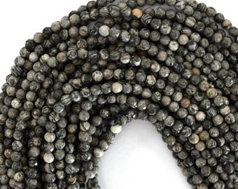 "4mm faceted grey leopard skin jasper round beads 15"" strand 39201"