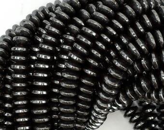 """8mm hematite heishi rondelle beads 16"""" strand 38992"""