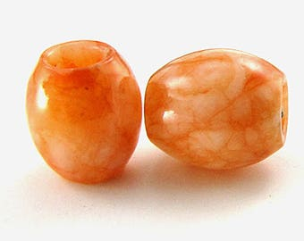 13mm orange jade beads 14416