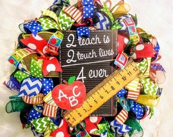 PRE-LABOR DAY Sale Teacher wreath, Teacher wreaths, back to school wreath, back to school wreaths, teacher gift, teacher gifts, school wreat