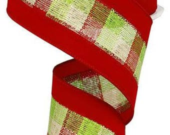 2.5 x 10 yrds - Lime and Red Plaid ribbon, red and green plaid ribbon, Christmas Ribbon, Green ribbon, Red ribbon, red and green ribbo