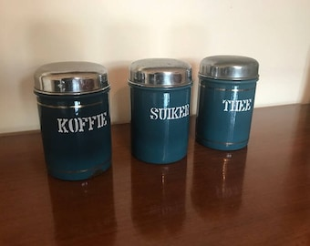 3 antique containers / petrol blue / art deco / canisters