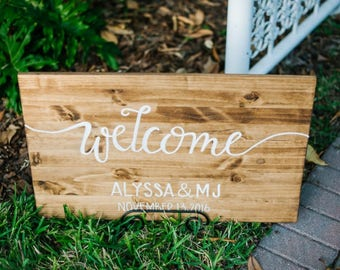 Custom wood wedding sign