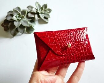 Red leather card case with a snake pattern / Red envelope card holder / Red leather business card case / Genuine leather