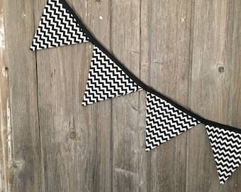 Black and white chevron bunting, birthday, nursery, wedding, banner, flags, teepee topper,monochromatic, garland, mantel decor, shower decor