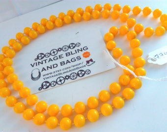 77cm vintage 1980s yellow necklace, long necklace, bead necklace, yellow necklace, vintage necklace, necklace, custard yellow bead necklace