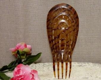 Vintage Faux Tortoiseshell Hair Comb;Large Vintage Back Comb