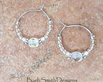 "Beaded Silver Gold Crystal Hoop Earrings, Stainless Steel Earrings, Small 3/4"" Diameter in Gold n' Silver"