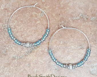 "Beaded Turquoise Bronze-Lined Aqua and Silver Hoop Earrings, Large 1 3/8"" Diameter in Bronze-Lined Aqua"