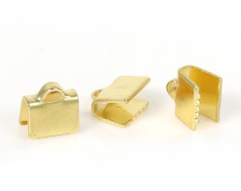 10 caps Ribbon clip, smooth, 7mm, gold plated brass