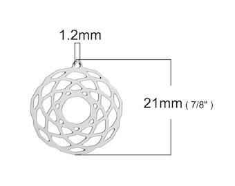 2 pendants, prints pattern Dreamcatcher, stainless steel round 25x22mm