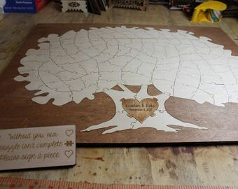 Elegant Bordered Tree Puzzle Guest Book | Wedding Tree Puzzle | Guest Book Alternative | Unique Wedding Guest Book | Rustic Wedding