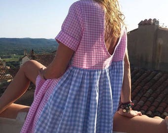 Blue and pink gingham dress