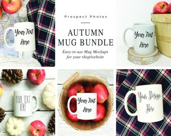 Fall Coffee Mug Bundle | Styled Stock Photography| Autumn Mug Mockup | Instagram photos | Product mockup