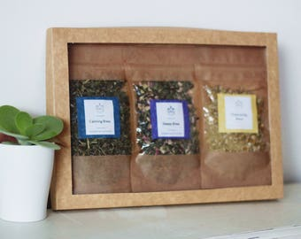Relaxing Herbal Tea Selection Box of 3 teabelly Organic Artisan Tea Blends Infusion Tisane