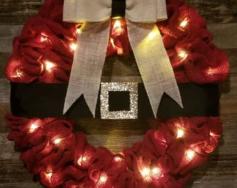 Lighted red santa belt burlap wreath! Christmas wreath, Christmas decor, Christmas gift, santa wreath, lighted wreath! Order yours today!