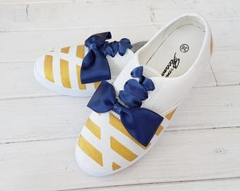 Hand Painted Sneakers of the Striped with Blue Bow tie, Colorful Shoes,School Colors, Casual shoes, Birthday Party, Woman Shoes