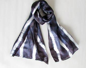 Glamorous scarf Shibori scarf Silk Art scarf Boho chic Evening wear Striped scarf Shibori fabric Neck scarf Summer scarf INDI 0221