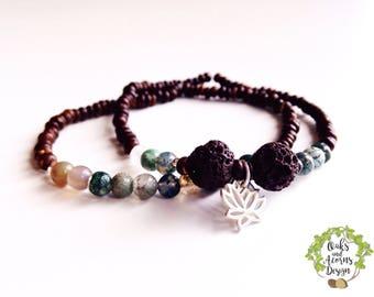 Set of aromatherapy mala bracelets - stacking mala bracelets - lotus bracelet - Lava rock bracelet - yoga meditation jewelry - gift for her
