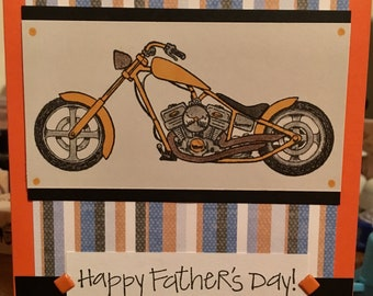 Happy Father's Day Handmade one of a kind Card blank inside  Harley Davidson motorcycle colors inspired dad
