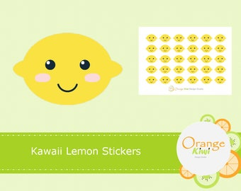 Kawaii Lemon Stickers, Lemon Stickers, Fruit Stickers, Planner Stickers