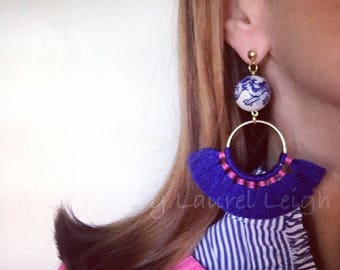 HOT PINK and BLUE Fringe Fan Earrings | chinoiserie, blue and white, tassel, lightweight, statement earrings, post earrings