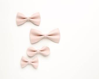 Flesh Pink Baby Bow, Leather Bow, Crocodile Clip/ Soft Nylon Headband, Adult Bow, Little Girl Bow, Newborn Bow, Girl Bow, Fall Bow, pink bow