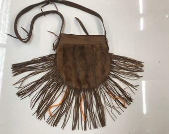 Modern bag real mink fur and leather with fashionable leather fringe new designer bag handmade with beats women's brown bag has size-small.