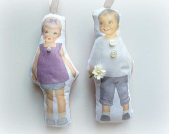 fashion paper doll paper Coline and Gaspard doll cloth doll