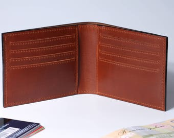 Mens Leather Wallet. Slim Brown Bifold Wallet. Flatbill Slim Mens Wallet City Twill