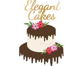 Cake logo - premade wedding cake logo - tiered cake logo - Bakery logo - Baker logo - wedding cake - dripping cake logo